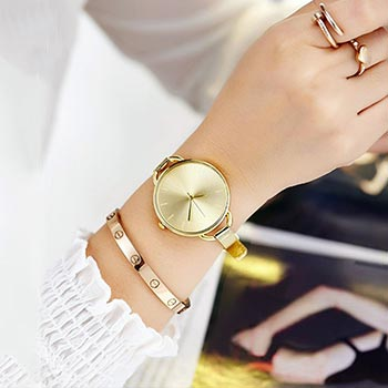 New Stylish Las Watches With Bracelet Strap Og Dial Wrist Watch Gold